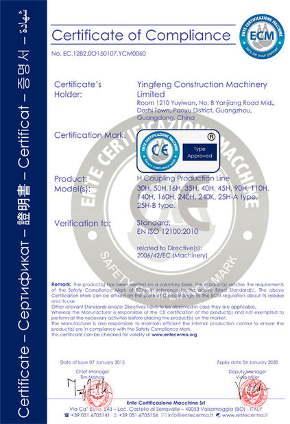 China Yingfeng Construction Machinery Limited Certificaciones
